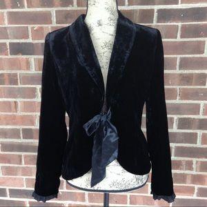 WHBM Black velvet jacket with ribbon tie